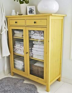 Reclaimed cabinet. Gorgeous yellow, chicken wire doors