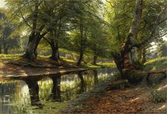 Peder Mørk Mønsted – private collection. A Stream Through the Glen, Deer in the Distance (1905)