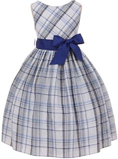 Big Girls Thick Ribbon Belt Plaid Design Flowers Girls Dresses Royal 12 K36D2 -- Find out more about the great product at the image link.