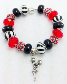Red+Zebra+Cheerleading+European+Style+Charm+by+Graceandliz+on+Etsy,+$15.00