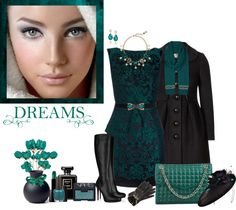 """Dreams of Teal - Peplum Dress"" by annette1018 ❤ liked on Polyvore"