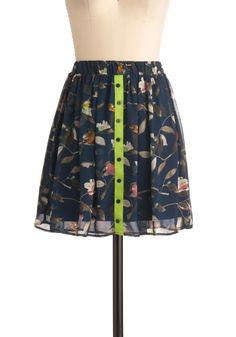 A Winging Hand Skirt - Short, Green, Buttons, A-line, Multi, Blue, Print