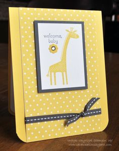 Baby Blitz: Card #2-  Beth McAlexander,  More details at cardcreationsbybeth.com (11-7-13 post). Stamps: Zoo Babies, Petite Pairs Paper: Daffodil Delight CS, Basic Gray CS, Whisper White CS, Brights Collection DSP Stack (Daffodil Delight) Ink: Daffodil Delight Stamp Pad, Basic Gray Stamp Pad Accessories: Itty Bitty Shapes Punch Pack, Rhinestones, Basic Gray Stitched Grosgrain Ribbon, Dimensionals, Glue Dots, Corner Chomper