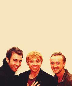 Matt Lewis, Rupert Grint and Tom Felton- Neville Longbottom, Ronald Weasley, and Draco Malfoy