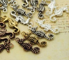 4 Seahorse Charms - Silver Plate, Antique Copper, Antique Silver or Antique Gold - 24mm X 10mm - Made in the USA - Jump Rings Included