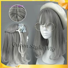 Women's Wig Gray Mixed Lolita Party Synthetic Hair Cosplay Harajuku Anime Wigs for sale online Rihanna Hairstyles, Kawaii Hairstyles, Wig Hairstyles, 1920s Hairstyles, Casual Hairstyles, Medium Hairstyles, Latest Hairstyles, Black Hairstyles, Kawaii Wigs