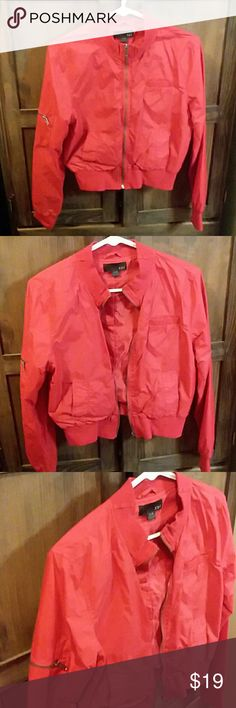 3 for $15 Vintage style red bomber jacket 80's and 90's style retro bomber windbreaker jacket. Tag says large but it fits like a medium. Add to a bundle with 2 other 3 for $15 items and I will send you an offer! Jackets & Coats