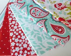 Riley Blake Fabric Bundle, Primrose Garden, Half Yard Bundle, Red & Aqua Fabric, Red and Turquoise Fabric, Paisley, Floral, Dots, Stripes