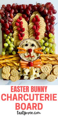 Make this cute Easter Bunny Platter as part of your Easter food menu! Shape your favorite fruits, vegetables, crackers, and cheese into this special rabbit. This makes a great Easter appetizer to counter all the sweet treats. Make this charcuterie board as the recipe states, or use your favorite foods. Easter Food, Easter Recipes, Holiday Recipes, Easter Eggs, Easter Appetizers, Holiday Appetizers, Best Appetizers, Roast Lamb Leg, Easter Specials