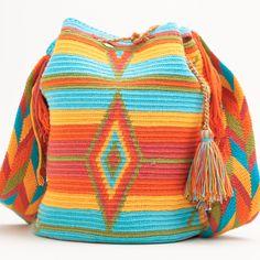 Not crochet, but love the colors. Mochila Crochet, Bag Crochet, Crochet Handbags, Crochet Purses, Love Crochet, Crochet Stitches, Crochet Capas, Tapestry Crochet Patterns, Tapestry Bag