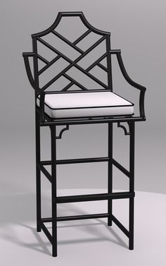 Chinese Chippendale Barstool with Arms: Chippendale Furniture
