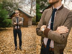 Red, white, and blue plaid button-up with collar, skinny dark blue tie and clip; brown herringbone regular fit sweater; brown leather strapped watch; wayfarer sunglasses.