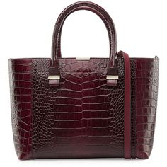 Victoria Beckham Quincy Embossed Leather Tote ($1,285) ❤ liked on Polyvore featuring bags, handbags, tote bags, red, structured tote, red tote bag, red purse, genuine leather tote and embossed leather handbag