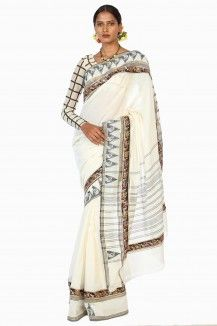 Ivory White Kanchipuram Handwoven Soft Cotton Saree By Ron Dutta  Rs. 3,015