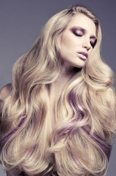 Amazing long blonde hair with a few subtle purple streaks running through it. Photographed by Rabee Younes. Purple Hair Streaks, Brown Blonde Hair, Violet Hair, Ombre Hair, Beautiful Long Hair, Gorgeous Hair, Gorgeous Blonde, Bright Hair Colors, Big Hair