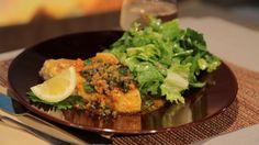 Mario Batali's Swordfish Piccata  with Escarole Salad