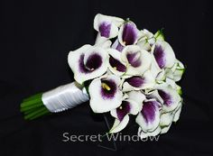 Simply elegant.  Picasso Calla Lily bouquet- the flower for bridesmaids to match my eggplant calla lillies