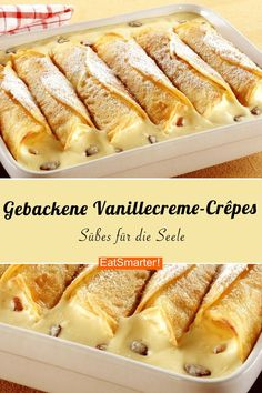 Baked vanilla cream crepes- Gebackene Vanillecreme-Crêpes You are still looking for a great dessert recipe? I swear on these warm baked vanilla cream crepes! Crepe Recipes, Easy Cake Recipes, Fall Recipes, Baking Recipes, Dessert Recipes, Keto Recipes, Dinner Recipes, Healthy Recipes, Food Cakes