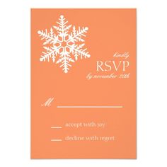 Jumbo Snowflake RSVP Cards (Orange) Personalized Invitation