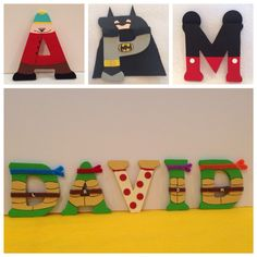 Teenage Mutant Ninja Turtle, Disney, The Avengers, Batman and South Park Wood Letter Characters (boy) on E Turtle Birthday Parties, Ninja Turtle Birthday, Ninja Turtle Party, Batman Birthday, 5th Birthday, Birthday Ideas, Ninja Turtle Room, Ninja Turtles, Ninja Party