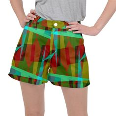 Rainbow colors palette mix, abstract triangles, asymmetric pattern Ripstop Shorts #pants #shorts #ripstop #cowcow #womens #fashion #look #style Triangles, Rainbow Colors, Creative Design, Print Patterns, Palette, Shorts, Abstract, Womens Fashion, Fabric