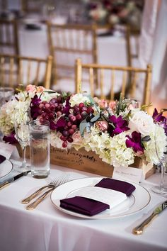 Wine-Box Wedding Centerpiece With Grapes | Wine country wedding centerpiece ideas