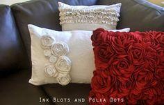 Ink Blots & Polka Dots: Drop Cloth Rosette Pillow