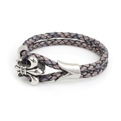 Leather Bracelet Antique Navy Fleur De Lis  Closure: Stainless Steel Clasp Material: 5mm Genuine Leather Eligible for Gift Box: Yes