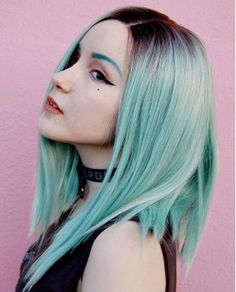 Short Black To Mint Green Bob Synthetic Lace Front Wig – FashionLoveHunter Blue Lace Front Wig, Bob Lace Front Wigs, Synthetic Lace Front Wigs, Synthetic Wigs, Mint Green Hair, Green Wig, Lavender Green, Short Hair Wigs, Short Hair Styles