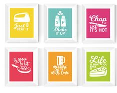 Kitchen Wall Art Printables 6 Set Kitchen Art Bright | Etsy Kitchen Prints, Kitchen Wall Art, Kitchen Humor, Funny Kitchen, Printing Services, Online Printing, Polka Dot Art, The Only Exception, Office Prints