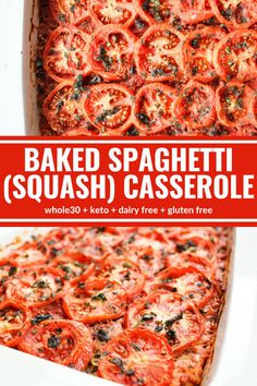 Baked Spaghetti (Squash) Casserole is a light way to fill that spaghetti craving. Spaghetti squash and a yummy homemade sauce make this dish a winner! Plus it's Whole30 compliant, gluten free, and dairy free!