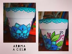 Afbeeldingsresultaat voor aroma a cielo Painted Clay Pots, Painted Flower Pots, Painted Cups, Hand Painted, Color Me Mine, Pottery Pots, Clay Vase, Posca, Backyard Projects