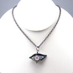 Handmade lampwork glass eye necklace SRAJD  Karma by elisethomas, $23.90