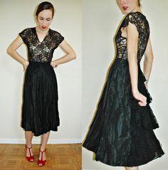 1930s black lace cocktail dress
