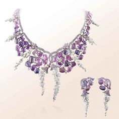 VAN CLEEF & ARPELS | Les Jardins demi-parure in white gold, pink and mauve sapphires, white cultured pearls