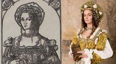 Zachował się tylko jeden jej portret z młodości Bony. Na drzeworycie z 1521 nie ma jeszcze trzydziestu lat. Dama o delikatnej urodzie spogląda przed siebie z dumą. Na jej twarzy maluje się ledwie zauważalny uśmiech. Nosi włoską suknię o głębokim kwadratowym dekolcie. . Całości dopełniają dwa rzędy klejnotów zawieszonych na szyi. Jej włosy osłonięte są delikatną siatką, na którą władczyni nałożyła przepaskę z kwiatami oraz kunsztowny beret. Zdobią go złote muszle.