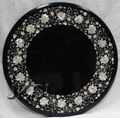 Coffee Table Mother Of Pearl Black Marble Inlaid PIetra Dura Art Decoratives
