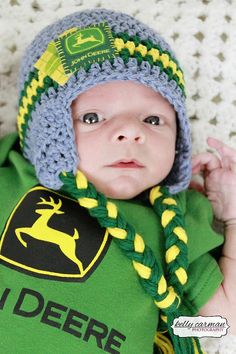 Crochet John Deere Baby Hat on Etsy, $20.00  Love this hat for Kennon!! Colors and style- too cute!