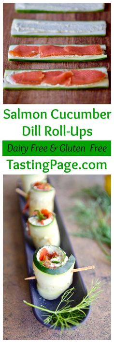 Salmon Cucumber Roll Ups are an easy gluten free, dairy free appetizer to serve as a snack or party appetizer | TastingPage.com