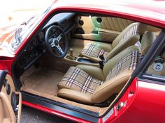 porsche 911 interior our Sport S seats with tartan and late style headrest.Classic Seats by GTS classics. Might look good with blue instead of red on my Carrera Automotive Upholstery, Car Upholstery, Custom Car Interior, Truck Interior, Vw Vintage, Vintage Porsche, Porsche Panamera, Vw Mk1 Rabbit, Golf Mk1