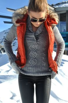 sweater + puffy vest for apres ski