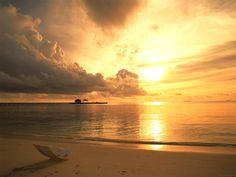 Sunset, beach, chair, coast, nature