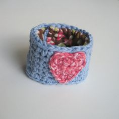 Cotton Crochet Cuff Bracelet in Cornflower Blue with by luvbuzz,