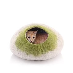 Kittycentric Cozy Cat Cave Bed - Handmade 100% Wool, Medium (Light Tan/Green) >>> You can get additional details at the image link. #CatsBedsFurniture