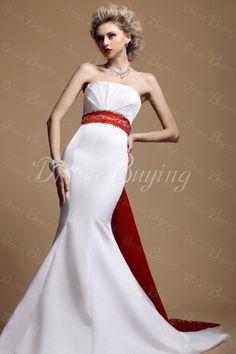 Red Long Belt Color Dasha's Wedding Dress Strapless Mermaid Chapel Train