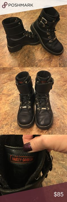 Harley Davidson Boots Great condition Harley Davidson harness buckle boot. Strong leather. Shoes Combat & Moto Boots