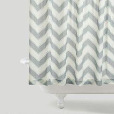 Chevron Shower Curtain // World Market Grey Chevron, Pink Grey, Curtain World, Shower Curtain Rings, Shower Curtains, Guest Bath, Guest Room, Cozy House, Apartment Living