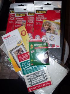 "lot of 6 + Scotch Thermal Laminating Pouches 3.5"" x 5"", 4""x6""  Inches  #Scotch"