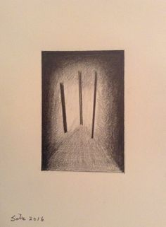 3 Vertical Lines  Graphite on Paper