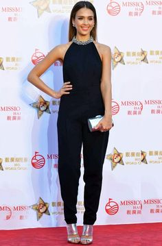 Trending Fashion Style: Jumpsuit. Jessica Alba in Emilio Pucci embellished 'collar'halter-neck sleeveless black jumpsuitat the opening ceremonyof the Mission Hills WorldCelebrity Pro-Am golf tournament in Haikou, China. More Trending Jumpsuit.